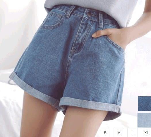 EASON SHOP(GU1067)水洗丹寧高腰寬褲反摺牛仔短褲S-XL女磨破刷破割破洞寬鬆韓版顯瘦卷邊熱褲