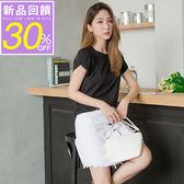 OrangeBear《AB2862》側襬抽皺拼接造型袖素面多色高含棉上衣.5色