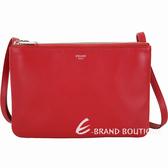 CELINE TRIO 小款 平滑小羊皮斜背包(紅色) 1920683-54