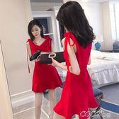 夜店洋裝 夜店裝性感韓版夏季時尚V領荷葉邊修身收腰連身裙女裝新款潮 coco衣巷