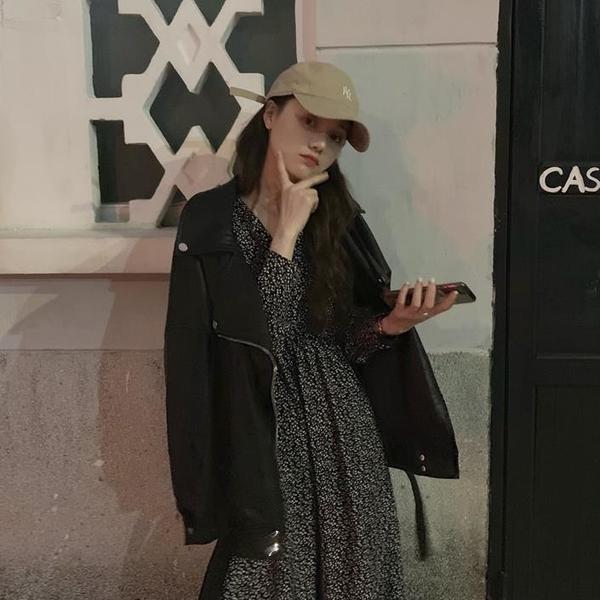 秋裝網紅套裝女寬松長袖外套上衣 碎花連衣裙兩件套1入
