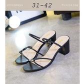 大尺碼女鞋小尺碼女鞋魚口羅馬風性感細帶交叉設計粗跟拖鞋涼鞋黑色(31-42)