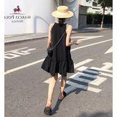夏裝慵懶風心機連身裙子女小清新設計感露肩掛脖無袖連身裙子