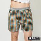 【JEEP】五片式剪裁 純棉平口褲 (多彩小格紋)