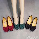 女鞋單鞋黑色工作鞋豆豆鞋平底鞋懶人鞋一腳蹬 優家小鋪