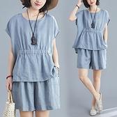棉綢顯瘦清爽藍色套裝(上衣+短褲)-中大尺碼 獨具衣格 J3686