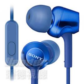 【曜德 / 送收納盒】SONY MDR-EX255AP 藍 細膩金屬 耳道式耳機 線控MIC / 免運