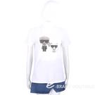 KARL LAGERFELD IKONIK RHINESTONE 卡爾 老佛爺貓咪水鑽白色棉質TEE T恤 2040424-20