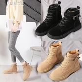 裸靴秋冬季馬丁靴英倫風加絨平底女鞋瘦瘦靴短筒靴子網紅短靴奈斯女裝