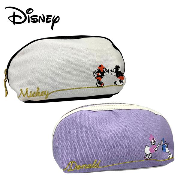【日本正版】迪士尼 半月型 化妝包 收納包 鉛筆盒 筆袋 米奇 米妮 唐老鴨 黛西 Disney 512968 512975