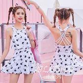 連體泳衣女掛脖式性感露背韓版時尚修身顯瘦溫泉泳裝