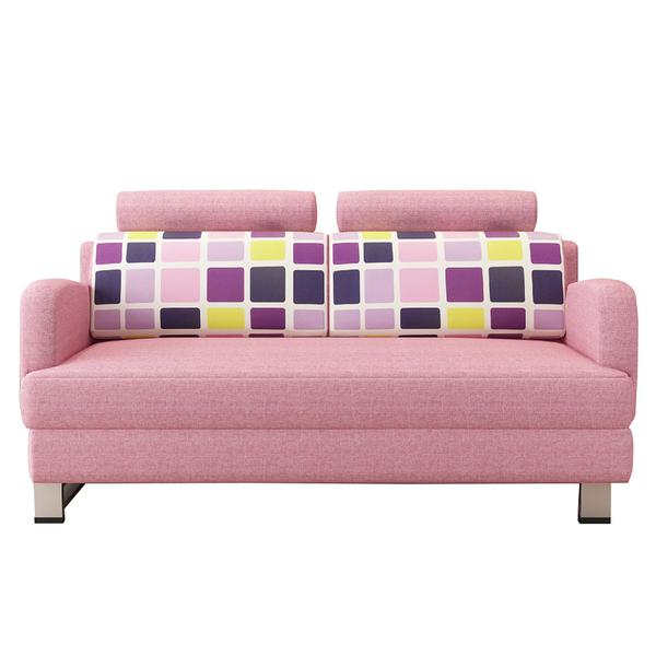 【采桔家居】歐蜜拉 時尚粉亞麻布多功能沙發/沙發床(拉合式椅身調整設計)