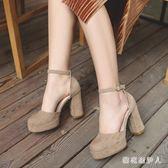 粗跟高跟鞋 2017夏季厚底粗跟高跟鞋女絨面圓頭一字扣帶鞋cx503【棉花糖伊人】