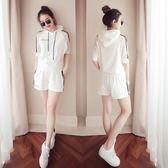 兩件套夏季韓版女裝2018時尚寬鬆短褲兩件套大碼連帽休閒運動套裝女潮『櫻花小屋』