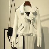 皮衣外套-翻領腰帶純色短款女夾克3色73on37【巴黎精品】