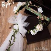 頭紗 羅門影樓韓式新娘花環頭紗森繫頭飾頭花 結婚婚紗發飾品154359 coco衣巷