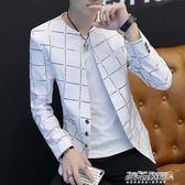 西裝 男士小西裝印花款外套韓版修身帥氣理發店西服個性上衣潮   傑克型男館
