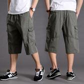 七分褲 短褲男士夏季薄爸爸裝老人7分褲高腰松緊腰帶休閑