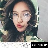 OT SHOP眼鏡框‧韓系歐美韓版網紅文青風格中性必備單品平光眼鏡‧金屬大方框‧現貨三色‧U46