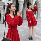 超殺29折 韓系名媛裙裝燈芯絨收腰性感紅色長袖洋裝