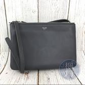 BRAND楓月 CELINE TRIO 舊款 灰色 小型 小羊皮 三層 斜背包 小包