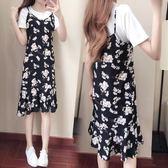 吊帶裙套裝女夏季2018新品正韓雪紡寬鬆兩件套碎花連身裙 洋裝顯瘦短袖 雙11大促