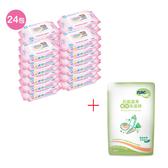 【奇買親子購物網】貝比Q EDI超厚超純水柔濕巾(無香料)(箱)+Nac Nac奶瓶清潔劑補充包600ml