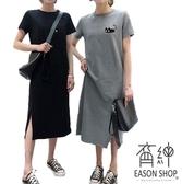 EASON SHOP(GW2802)韓版卡通小黑貓下襬開衩圓領短袖T恤裙連身裙洋裝女上衣服修身長裙孕婦裝過膝裙