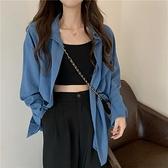 韓版復古藍色襯衫女設計感小眾2021新款中長款薄款防曬衫襯衣外套 「雙10特惠」