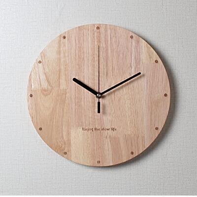 簡約實木掛鐘客廳大號圓形創意現代時尚鐘錶靜音臥室木質時鐘掛錶
