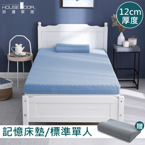 House Door 防蚊防螨表布記憶床墊12cm超值組-單人3尺雪花藍