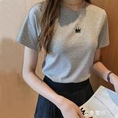 純棉白色短袖短款t恤女高腰修身韓版純色百搭學生半袖體恤上衣夏 雙十二全館免運