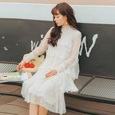 連身裙-長袖性感透視立領蛋糕蕾絲女連衣裙73rx11【巴黎精品】