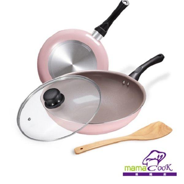 【義大利Mama Cook】綻粉陶瓷不沾鍋具4件組(炒鍋+平底鍋)