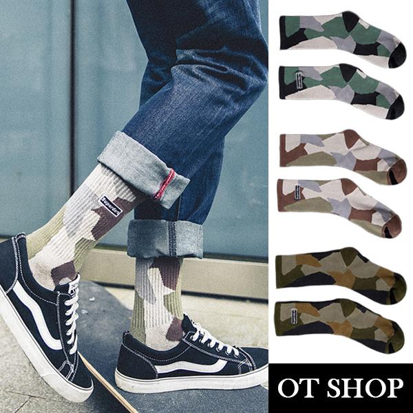 OT SHOP [現貨] 襪子 中筒襪 運動襪 男襪 棉質 個性迷彩 街頭運動穿搭 透氣吸汗 黑/軍綠/咖啡 M1062