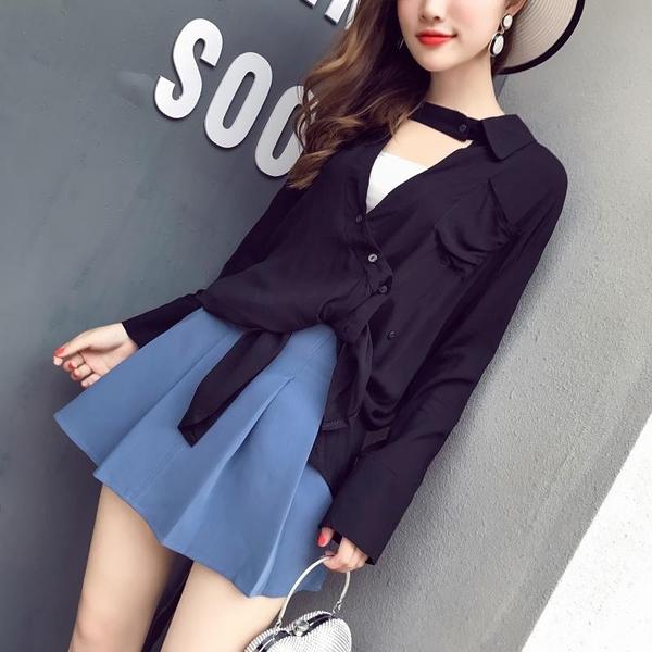 超殺29折 韓國風不規則V領長袖斜扣襯衫高腰百褶短裙套裝長袖裙裝