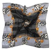 Christian Dior時尚豹紋金飾邊緞面方型絲巾(灰黑色)179009