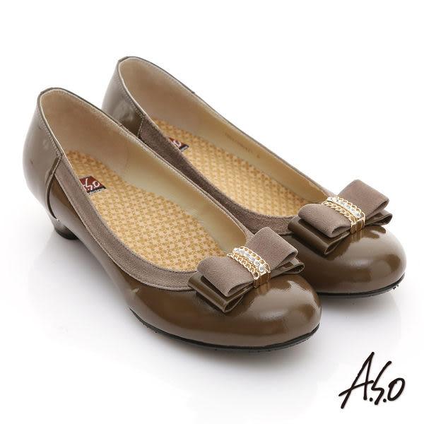 A.S.O 舒活系列 真皮鑽飾蝴蝶結金屬低跟鞋 灰褐