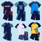 泳褲 兒童泳衣男童2021新品小中大童防曬速幹分體泳褲套裝游泳代發跨境
