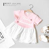 寶寶 甜美小花英文拼接蕾絲裙擺小洋裝 上衣 竹節棉 棉麻 哎北比童裝
