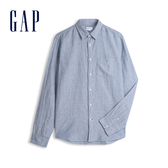 Gap 男裝 清爽格紋翻領長袖襯衫 548296-深煙灰色