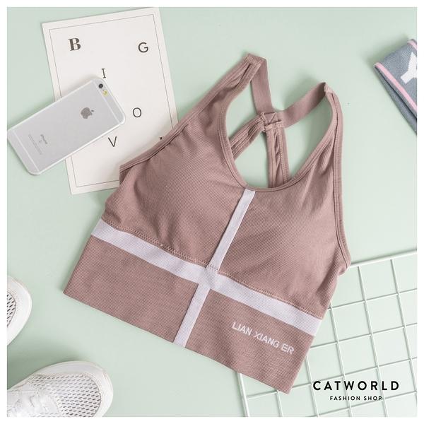 Catworld 十字羅紋無縫美背運動BRA背心【11501340】‧F
