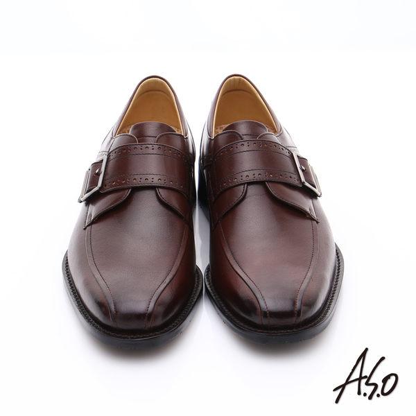 A.S.O 超輕雙核心 牛皮雕花魔鬼氈皮鞋  咖啡