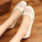 中國風平底繡花鞋民族風女古裝漢服鞋亞麻媽媽布鞋 韓小姐的衣櫥