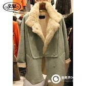 中長款大翻領羊毛呢外套女秋冬新款韓版加厚仿兔絨寬松時尚棉衣潮