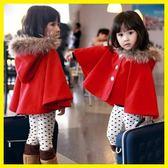 春季上新 寶寶紅色斗篷秋冬裝女童加絨加厚外套嬰兒外出披風兒童中大童披肩