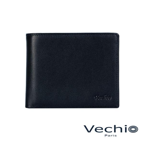 【VECHIO】紳士商務款II-經典素面皮革4卡零錢袋皮夾(午夜藍)VE038W06BL