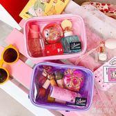 化妝包 韓國創意可愛少女化妝包透明閃粉防水大容量化妝品收納包洗漱包女『優尚良品』