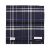 Calvin Klein 交錯格紋紳士純棉帕巾(深紫色)989091-254