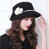 禮帽-名媛優雅精美花朵女羊毛呢帽3色73tk30[巴黎精品]